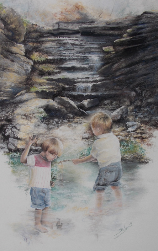 LITTLE BOYS FISHING AT THE FALLS