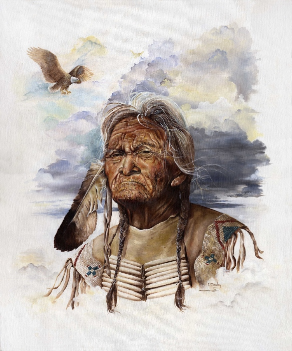 INDIAN CHIEF AND EAGLE FEATHER AND EAGLE