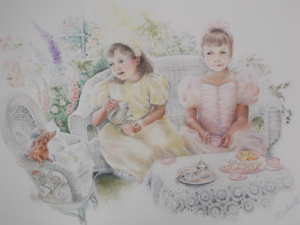 CHILD TEA PARTY IN FLOWER GARDEN