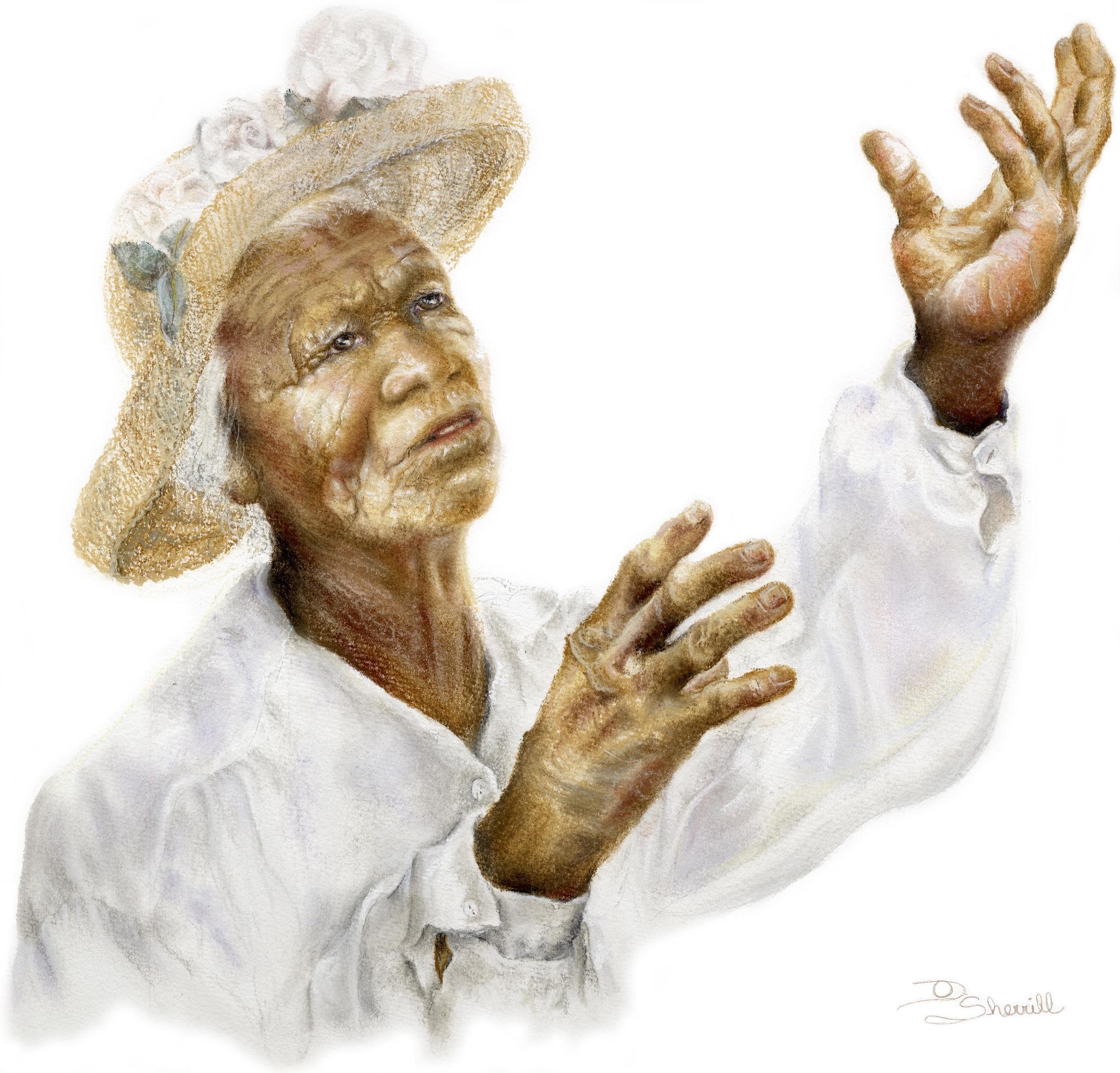 AFRICAN AMERICAN LADY PRAISING GOD