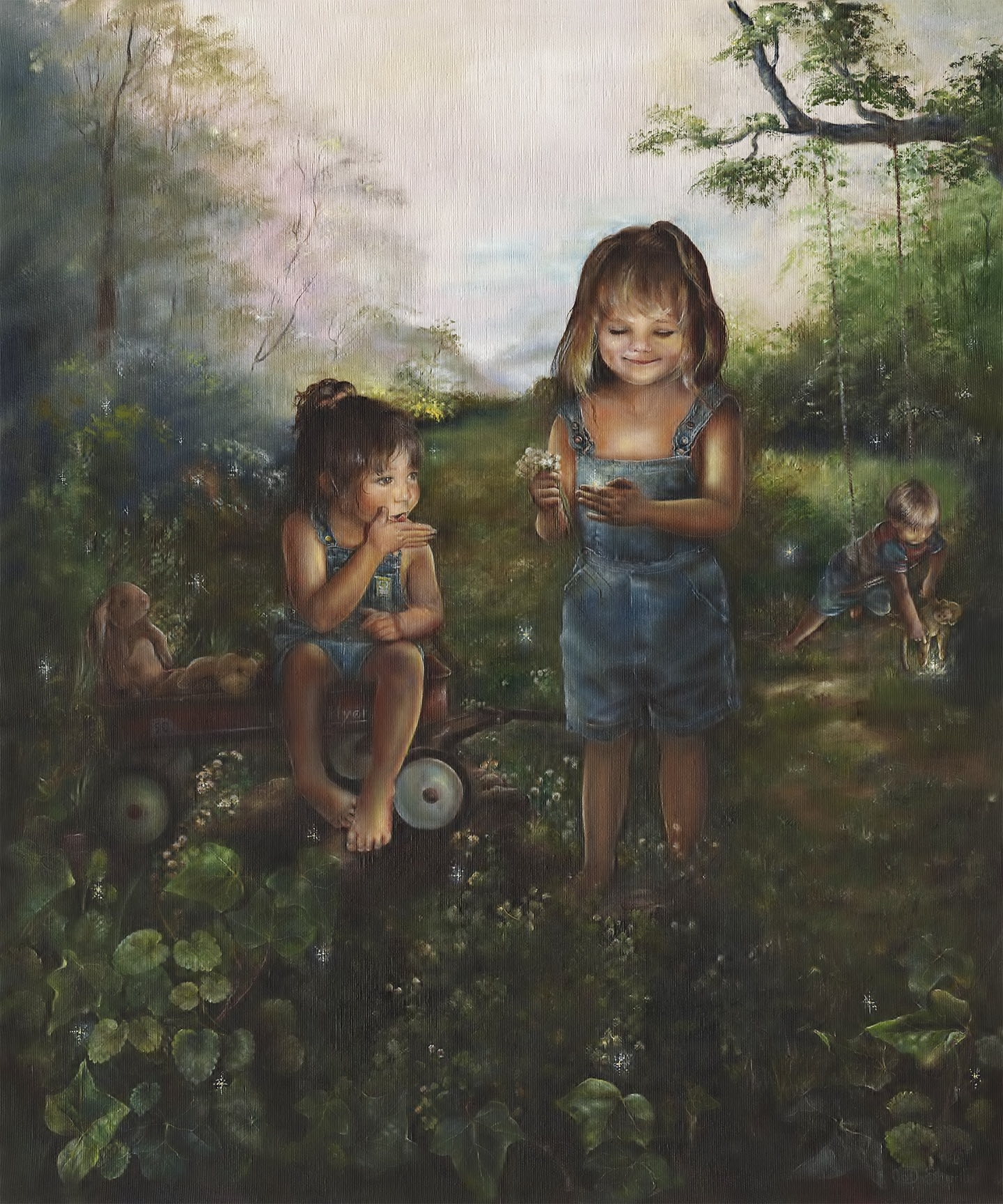 CHILDREN PLAYING WITH FIREFLIES OR LIGHTING BUGS