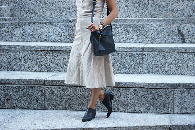 Linen Dress/vintage ankle boots