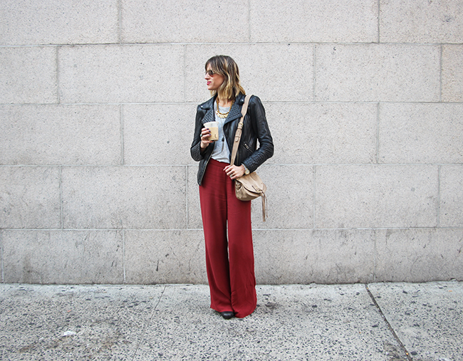 red trousers and leather jacket