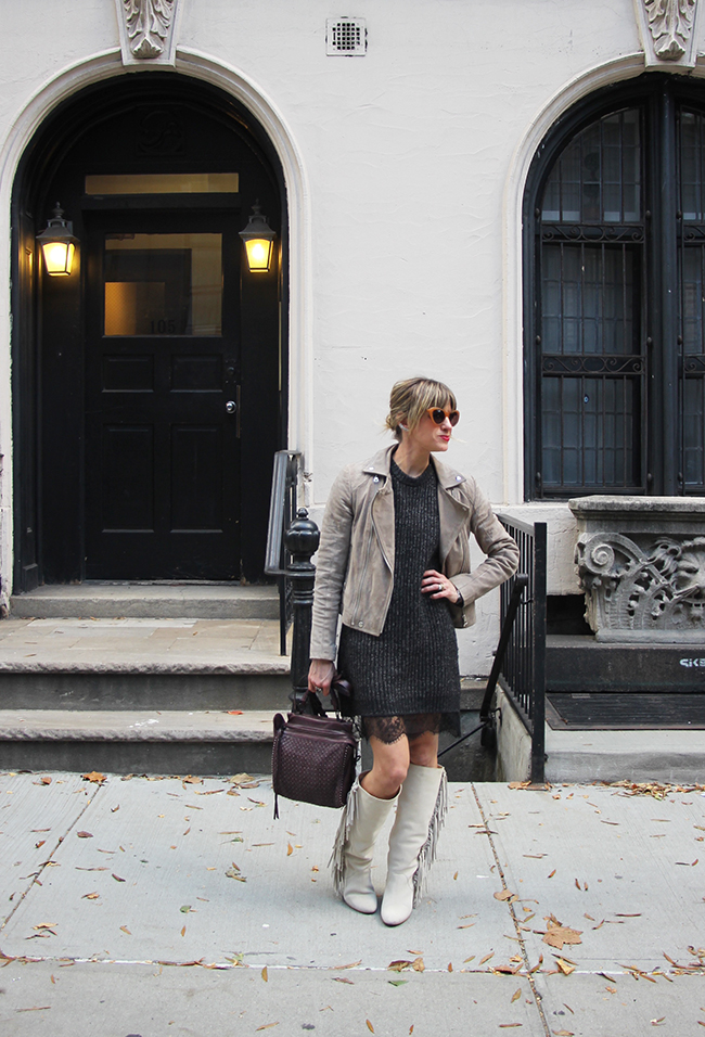 sweater dress and fringe boots