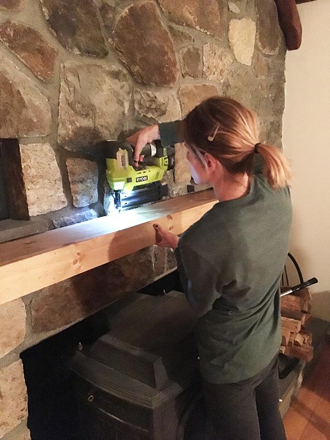 Installing DIY mantel