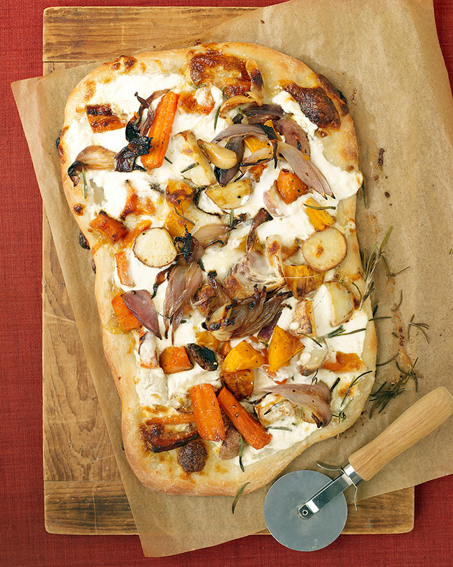Fall vegetable and ricotta pizza