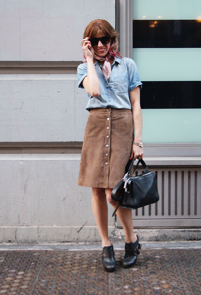 suede skirt and chambray