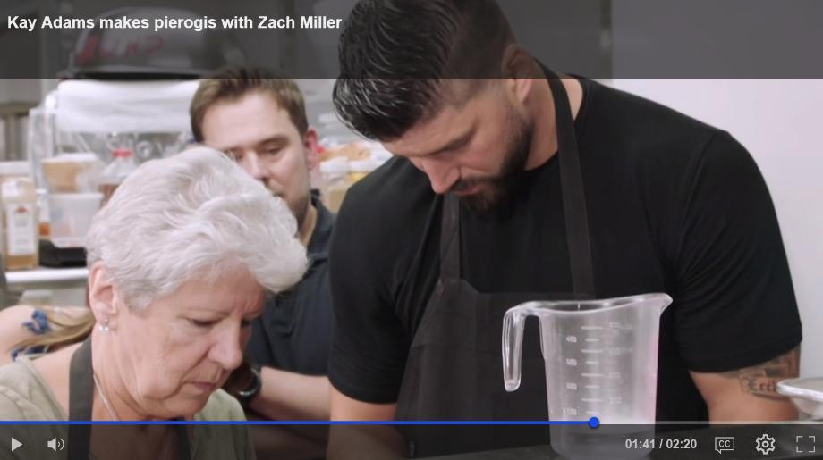 Kay Adams makes pierogis with Zach Miller    NFL Network's Kay Adams meets up with TE Zach Miller in downtown Chicago, Illinois to make the classic Polish food.    http://www.nfl.com/videos/good-morning-football/0ap3000000985737/Kay-Adams-makes-pierogis-with-Zach-Miller