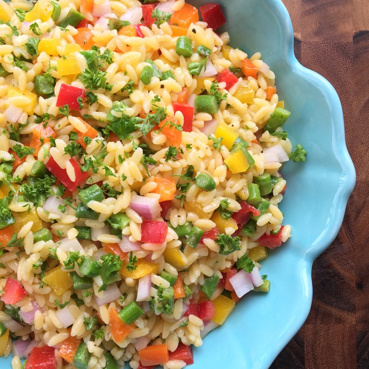 30 Day Healthy Salad Challenge Spring Veggie + Orzo Confetti Salad by Clean Eats & Treats