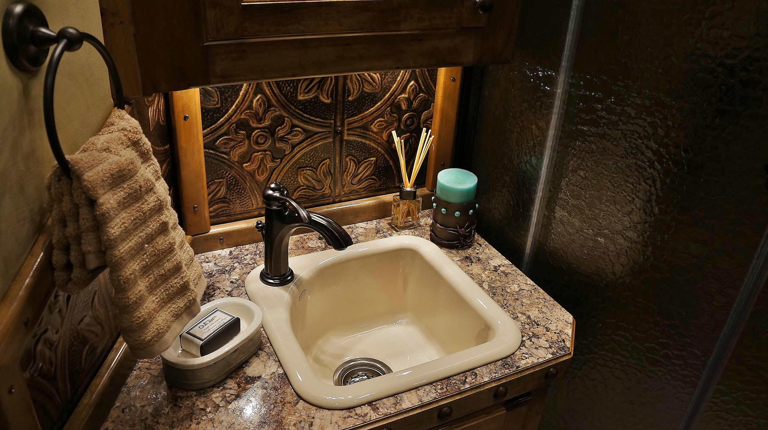 Small Deep Almond Porcelain Sink with Bronze Faucet