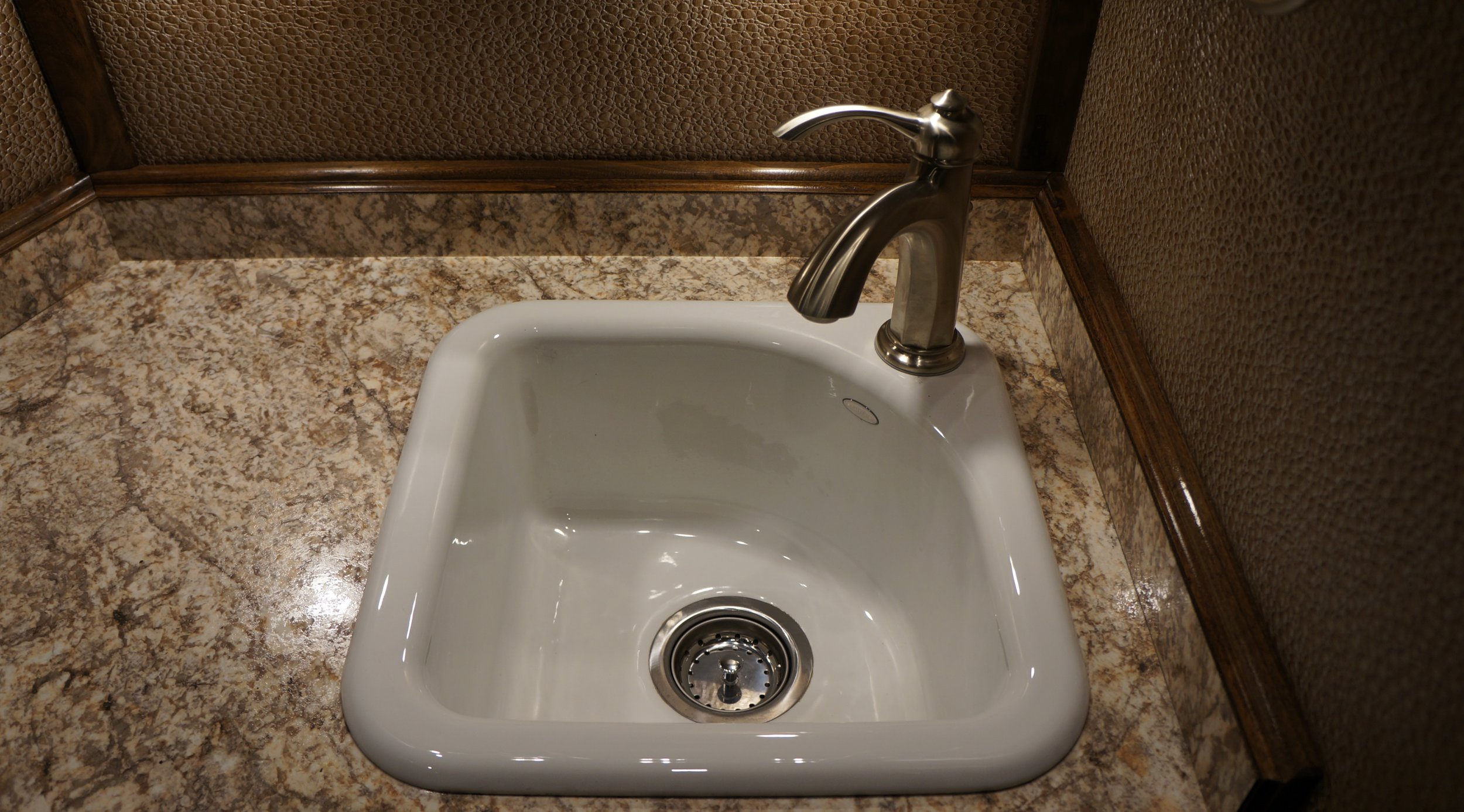Small Deep Almond Porcelain Sink with Stainless Faucet