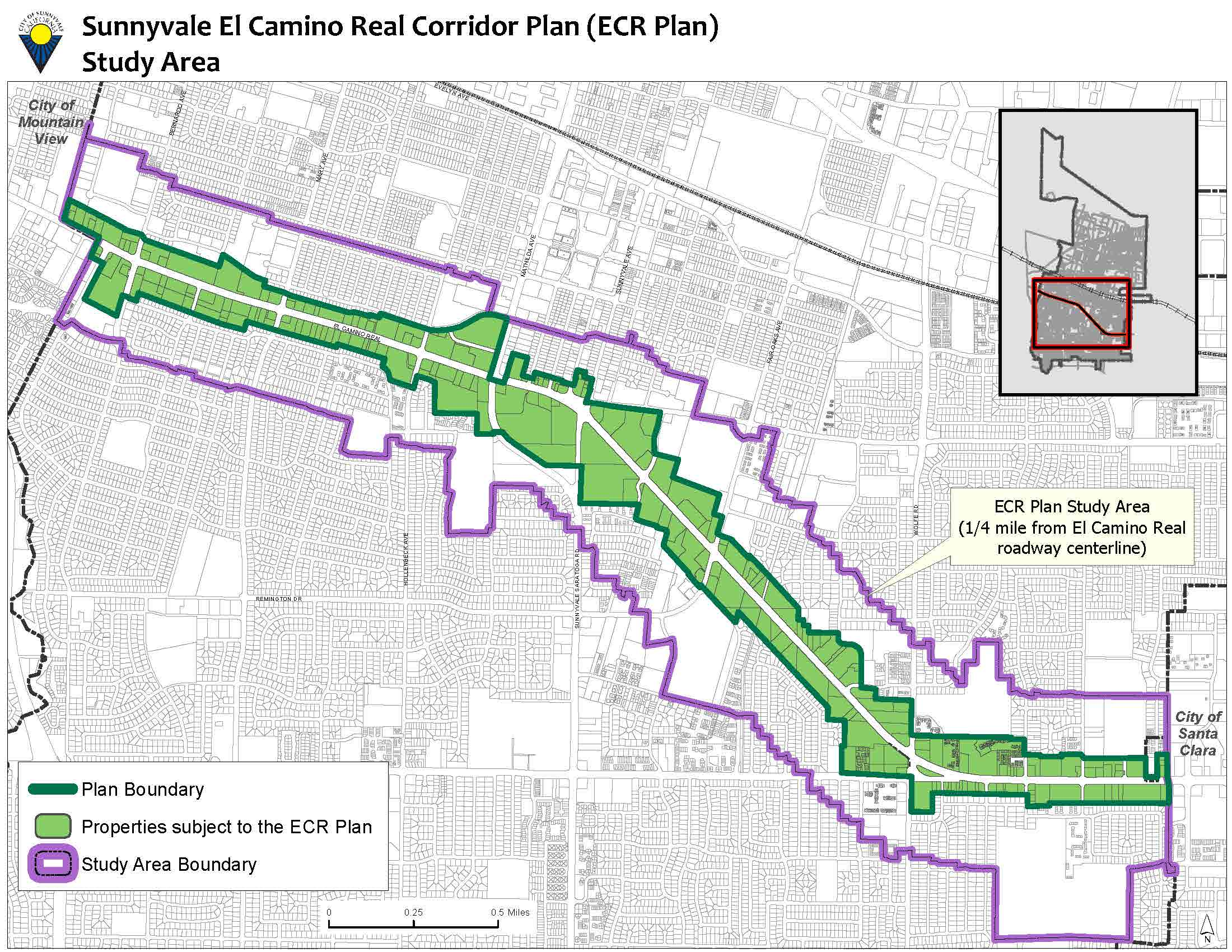 Map showing the plan's boundary, properties subect to the El Camino Real Specific Plan's provisions, and the study area boundary. Click on image to enlarge.