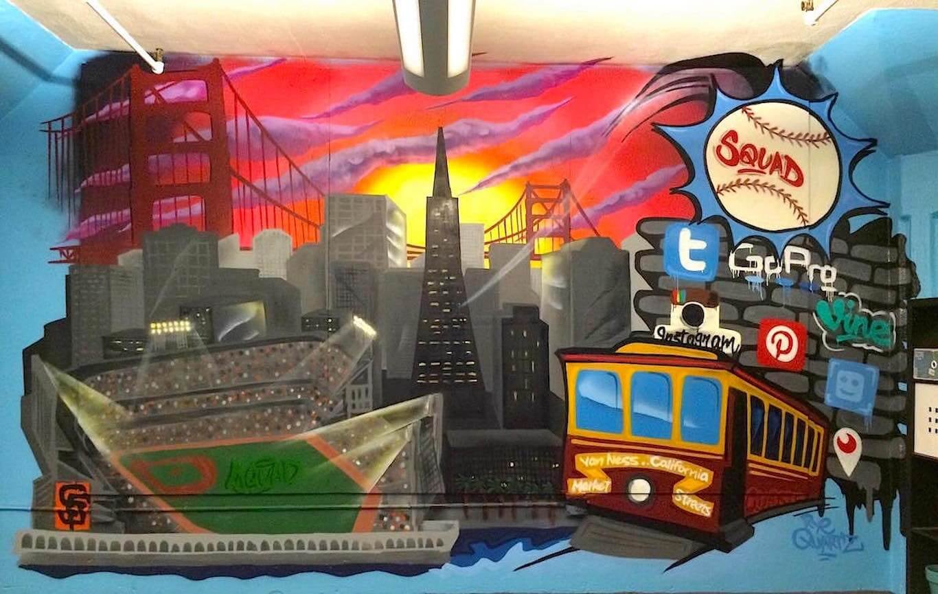 Commissioned Office Mural for Squad Sports | SOMA San Francisco USA, 2015