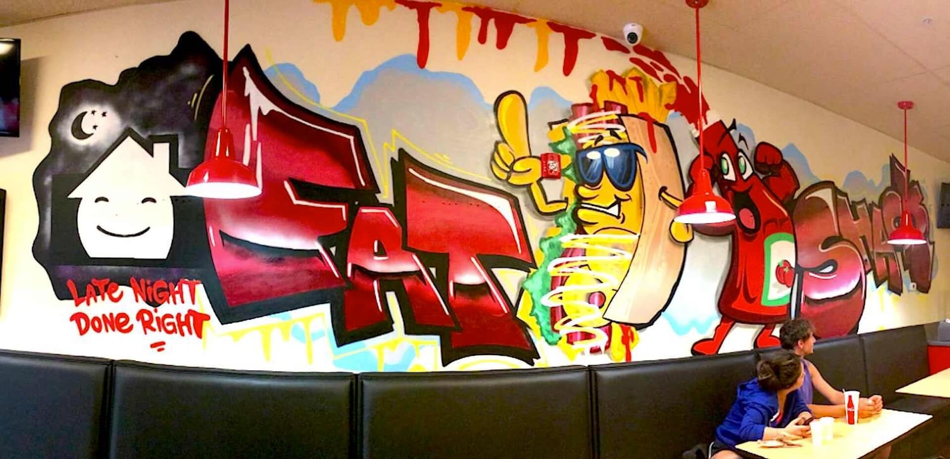 Commissioned Restaurant Graffiti Mural for Fat Shack | Boulder USA, 2014