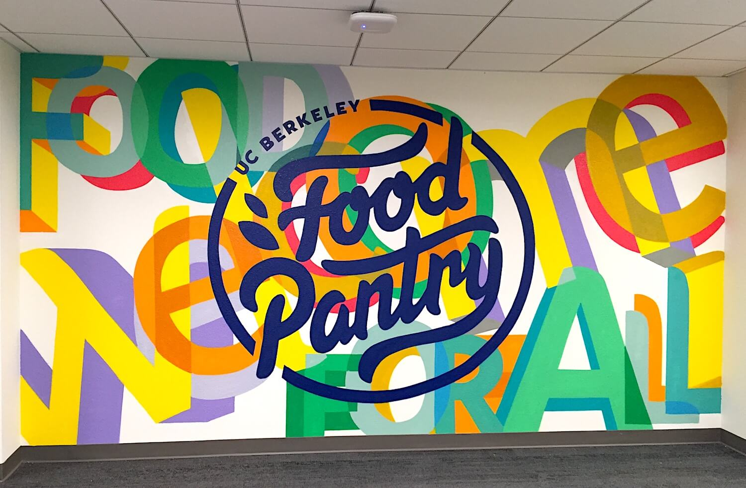 Commissioned Interior Typography Mural for UC Berkeley | Berkeley USA, 2016
