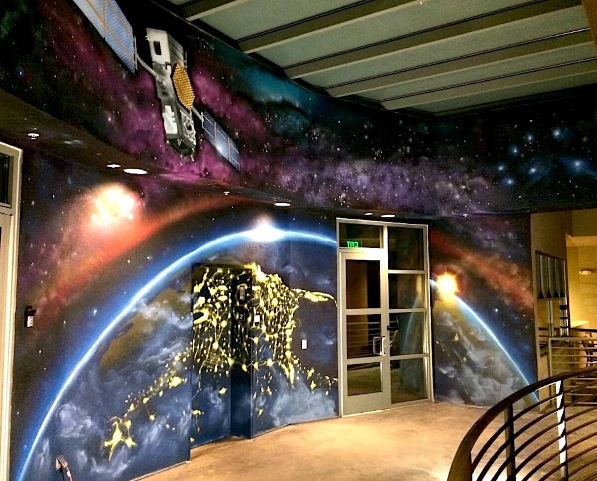 Commissioned Office Mural 2 for EOS Data Analytics | Menlo Park USA, 2017