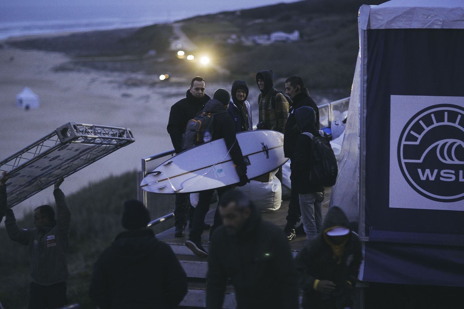 Early morning at Nazare. With only a couple of days warning people work through the night to get the event setup.