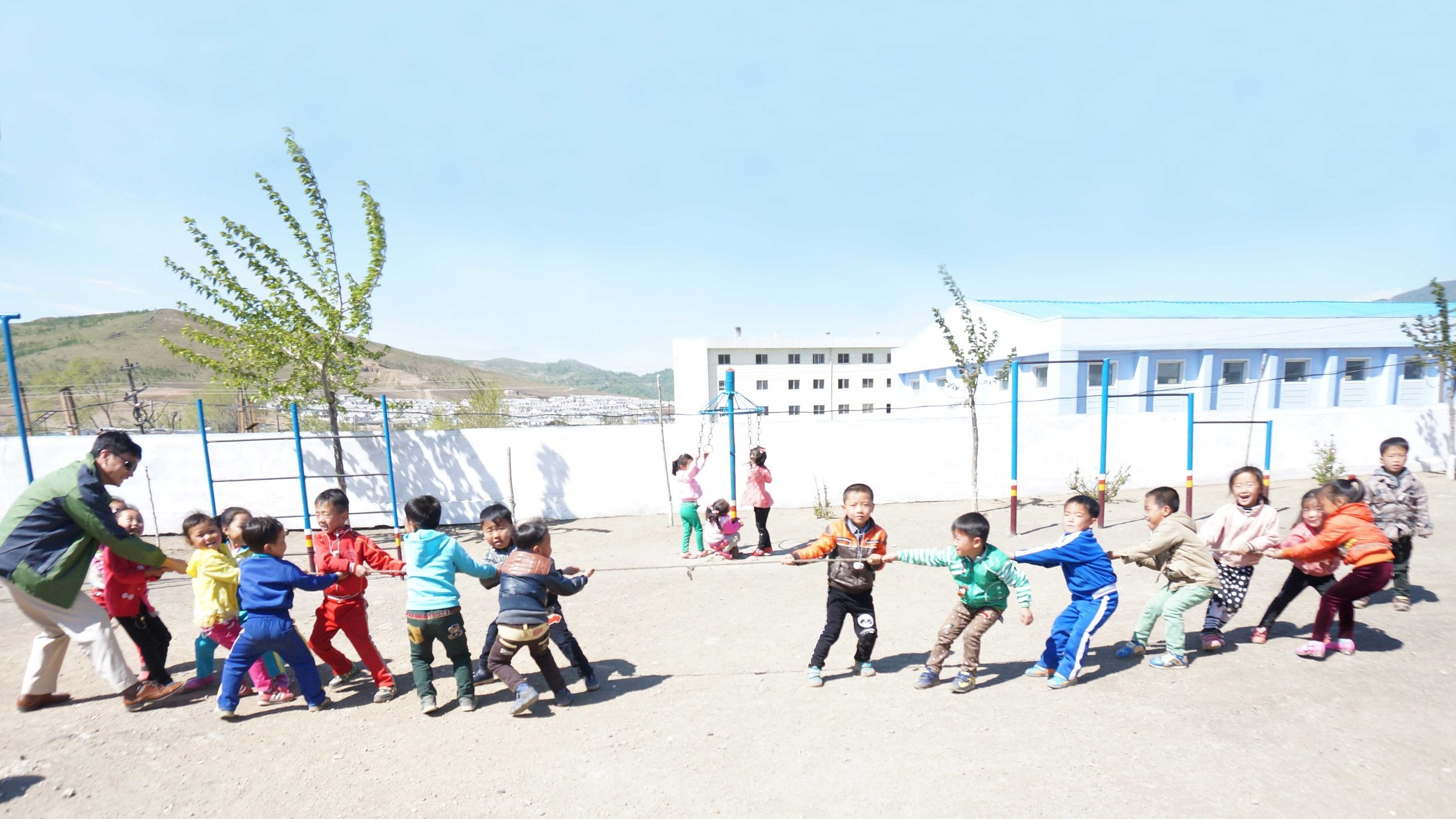 North Korean Children Playing Tight Rope