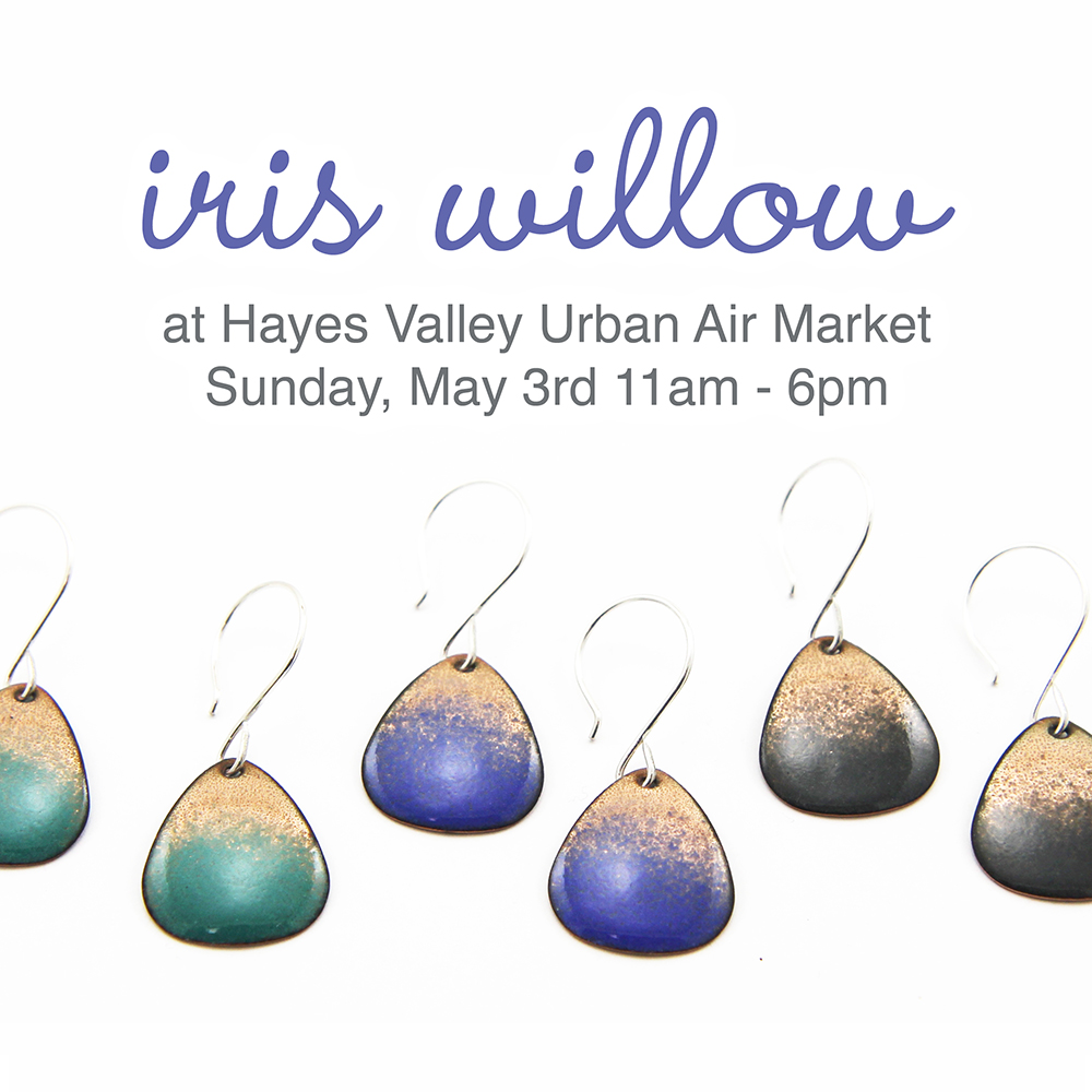 Mark your calendars - I'll be selling my handmade enamel jewelry at the Spring Urban Air Market in Hayes Valley on Sunday, May 3rd from 11am - 6pm. This will be a super fun event with live music and lots of local goods. Stop by and say hi and pick up a little something for your mama for mother's day, that special grad on your list or a treat for yourself.  You can find out more about this event here .