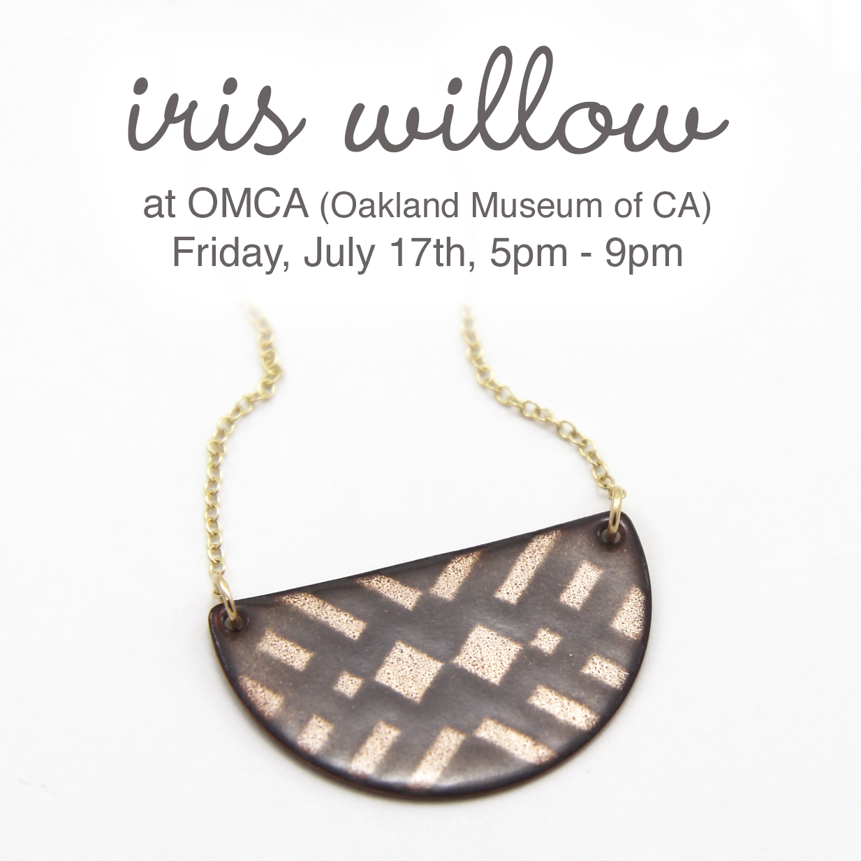Join me tomorrow for at OMCA in Oakland. There'll be food trucks, local art, live music and half price admission. I'll have a big selection of my handmade enamel jewelry available, including this screen-printed enamel geo necklace.