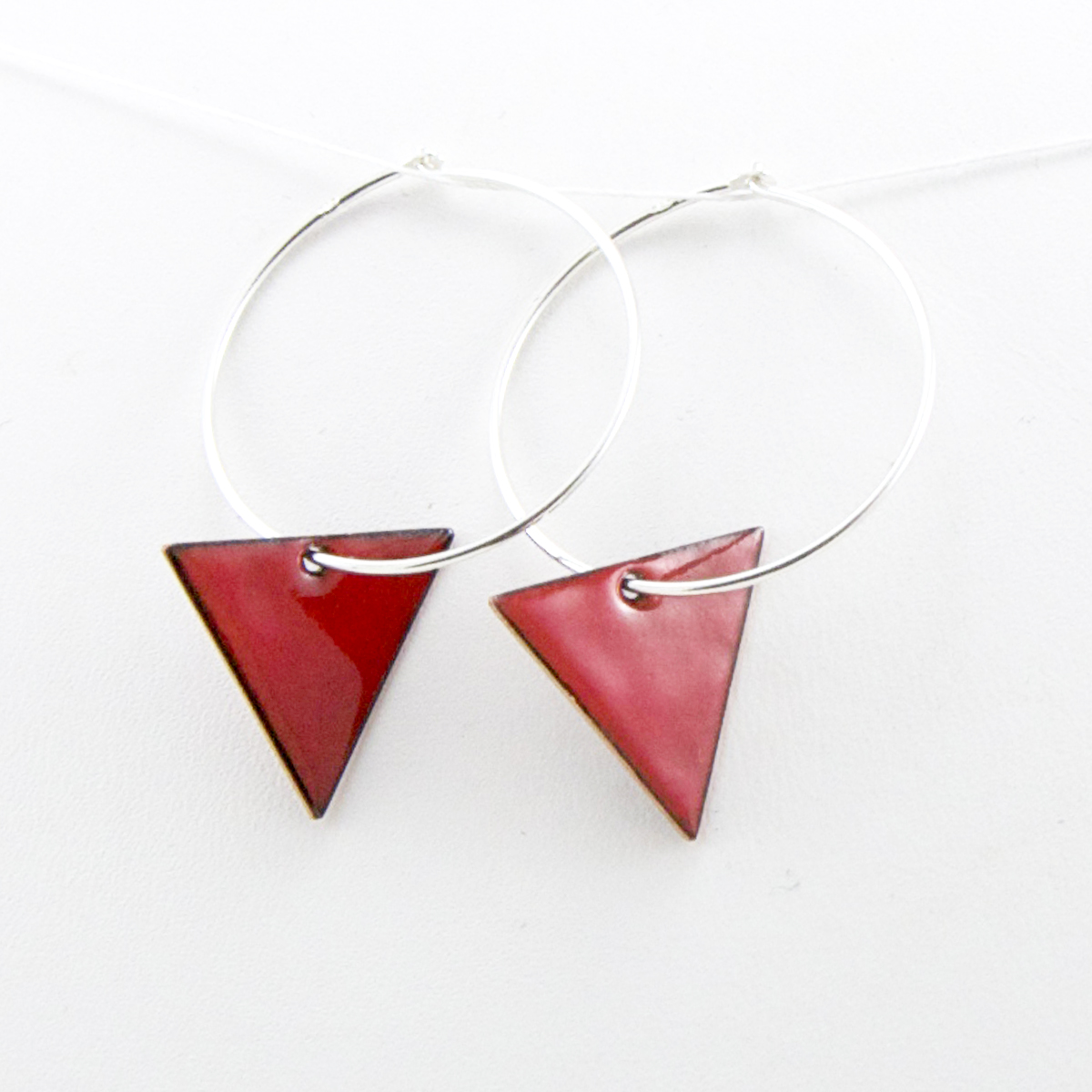 trinagle hoops red earrings Iris Willow.jpg