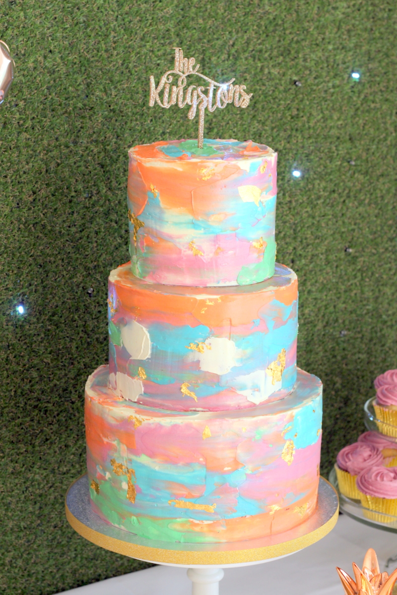 Brightly coloured 3 tier buttercream cake