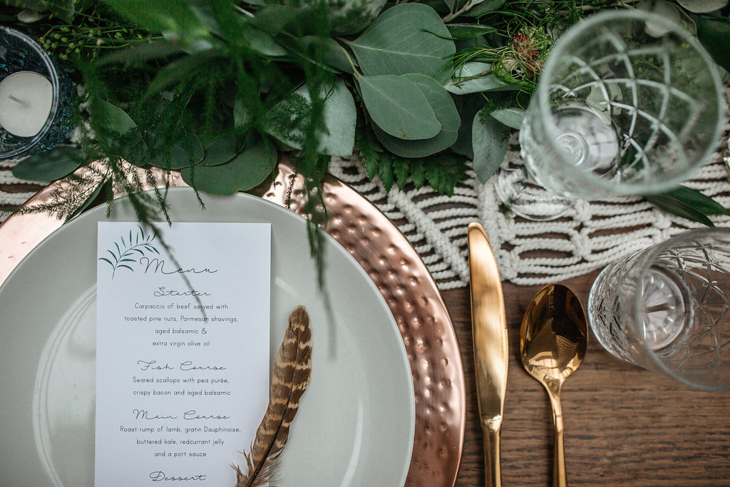 Boho Botanical and copper wedding place setting