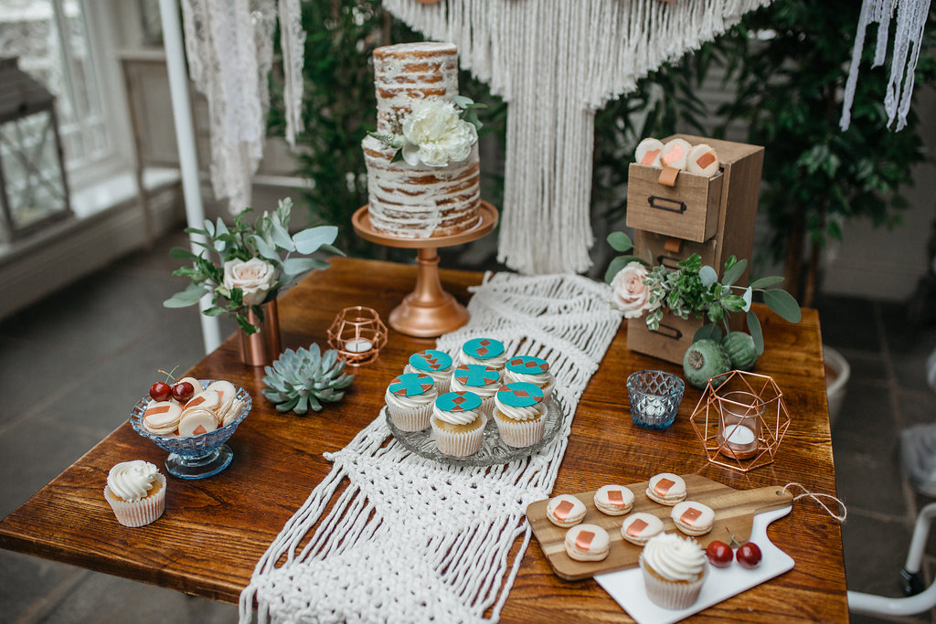 Boho botanical wedding dessert table | The Sweet Stuff