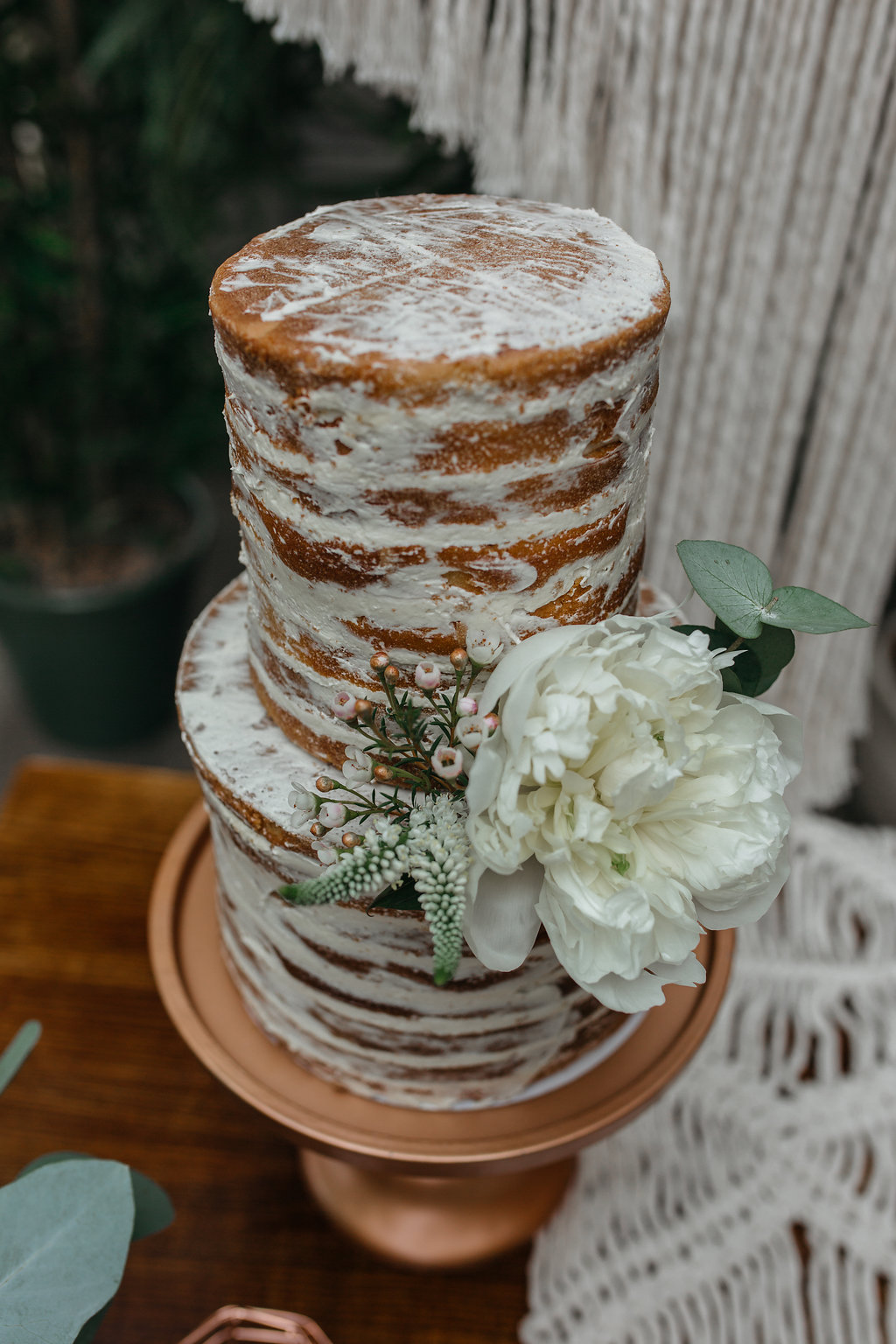 Boho botanical wedding semi-naked cake | The Sweet Stuff