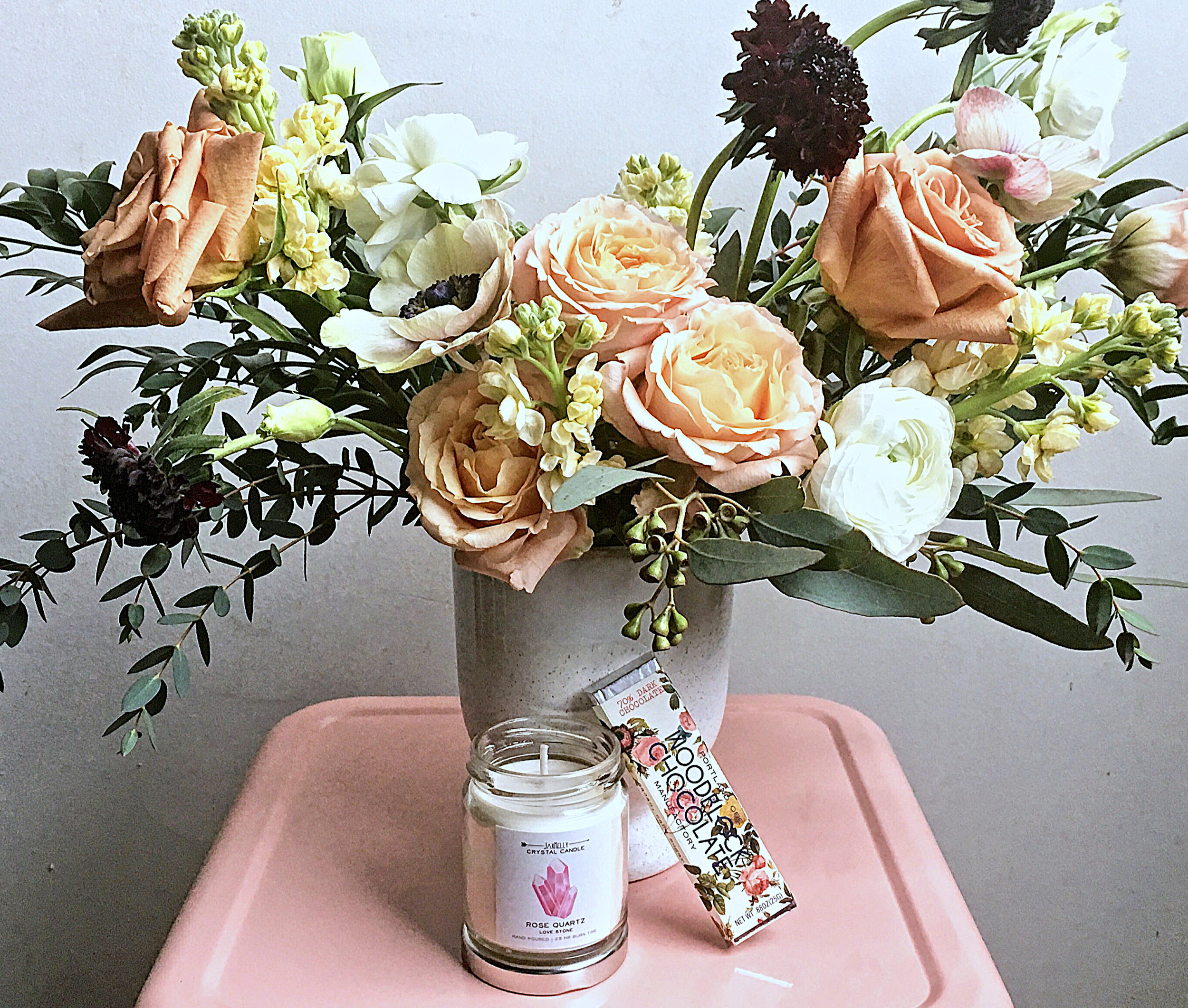 Love Package - $100Floral Arrangement, Candle and Chocolate Bar