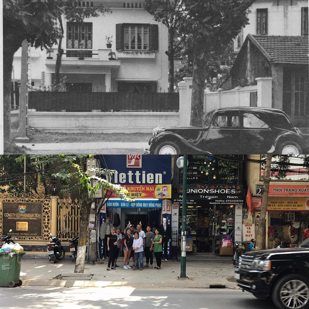 B&W photo above is Mama Le's childhood home circa 1953 and the below photo is Mama Le and her kids and friends at the same location, 64 years later. (Hanoi, Vietnam)