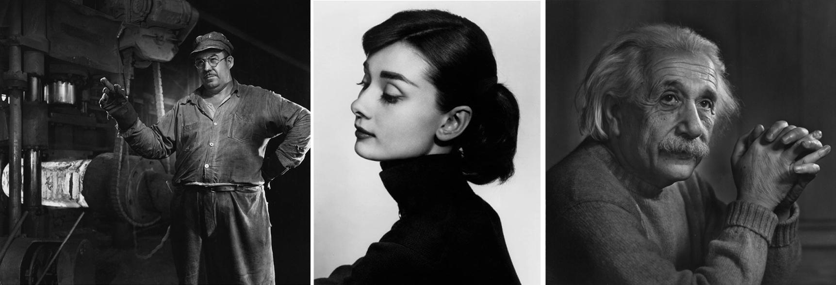 1. Operário da Ford {1950}          2. Audrey Hepburn {1956}   3. Albert Einstein {1948}