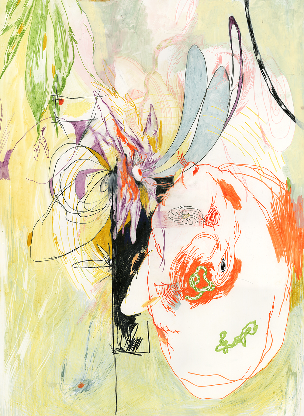 """pistils + stamens  35.5"""" x 26""""  prismacolor, lithography crayon, flashe, graphite on yupo  SOLD"""