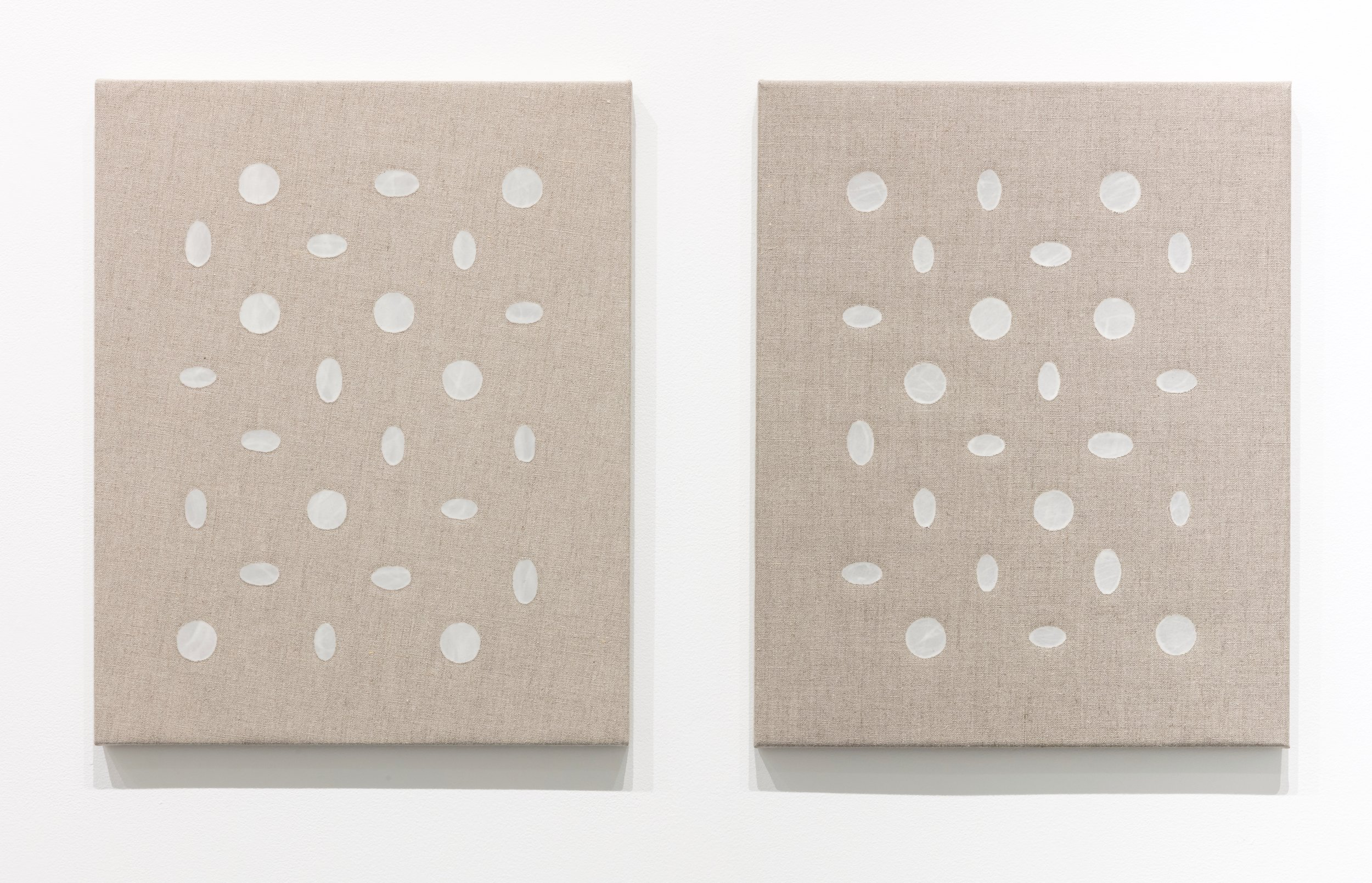 "speaking  &  responding through stillness    clear gesso on linen  20"" x 16"" & 20"" x 16""  2017"