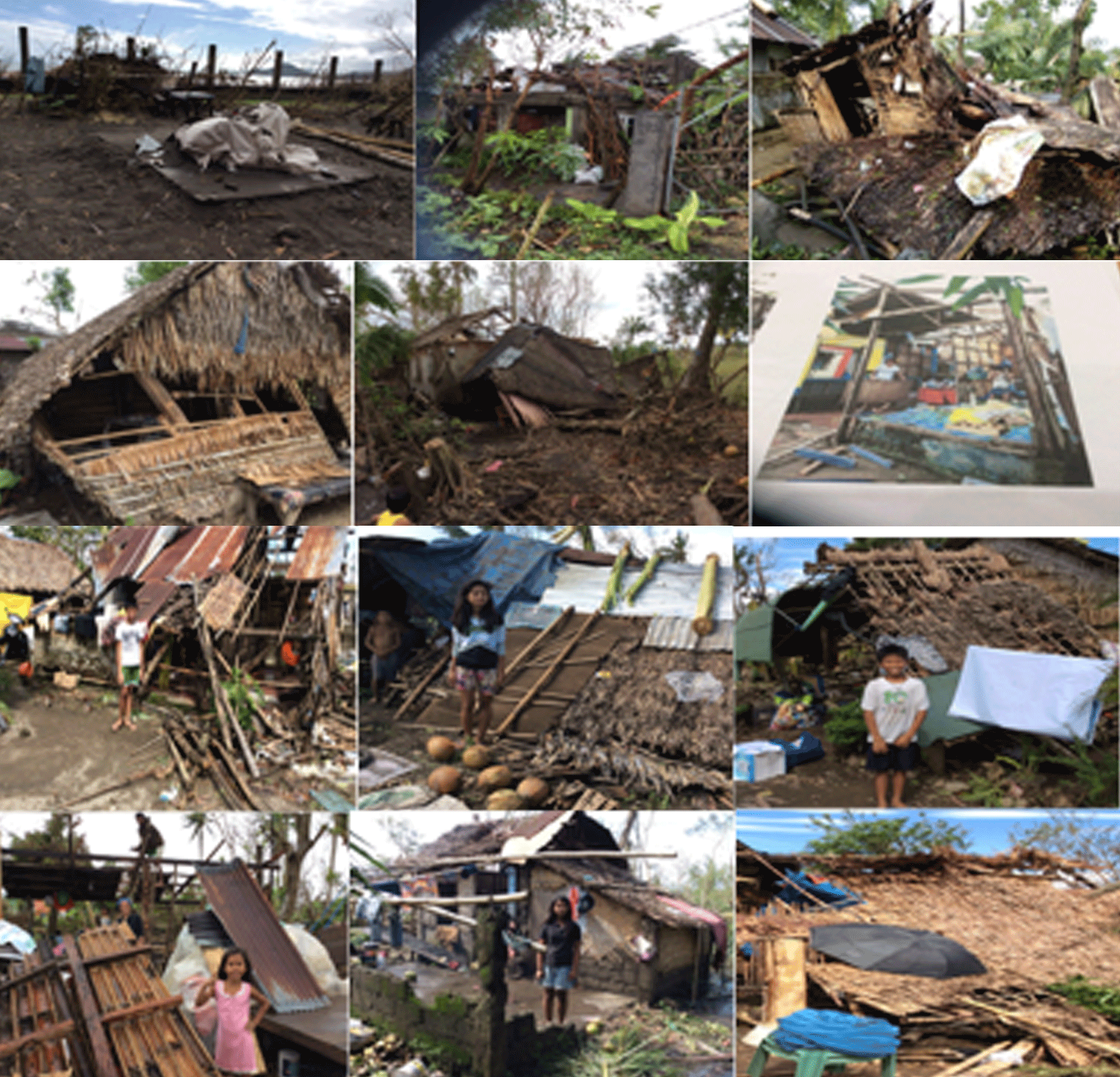 Facing the sources of threat, these are some of the houses that were destroyed by the strong winds.