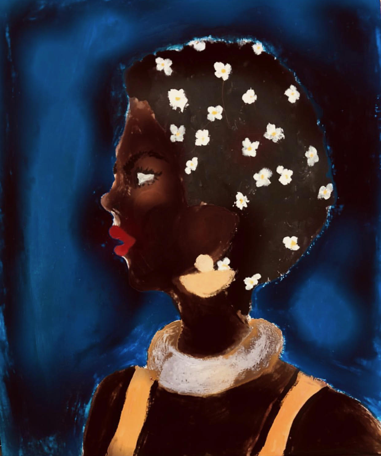 A portrait of a black woman on the moon.  Painting by Javana Mundy