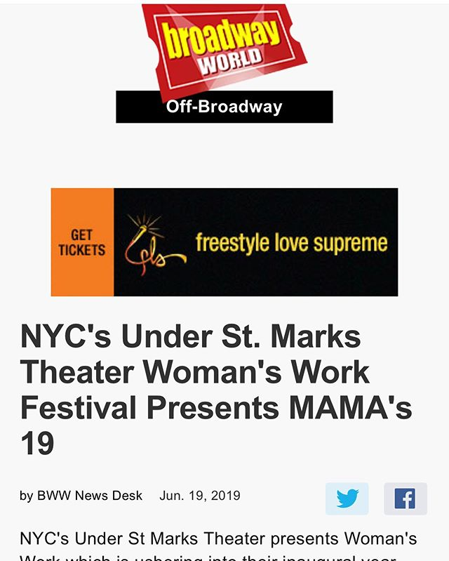 Letting the people know! Thanks for getting the word out about @mamas19theplay and the Women's Work Festival @officialbroadwayworld. Special s/o to my publicist @thebees_knees92 and @honeybmedia! Three more shows left! Excited to get to work tonight :)! #blackactors #broadway #offbroadway #newworks #soloshows #blacktheater #blackgirlmagic #blackwomen #blackmothers #blackmotherhood #blacklivesmatter #womenswork #playwrighting #actors