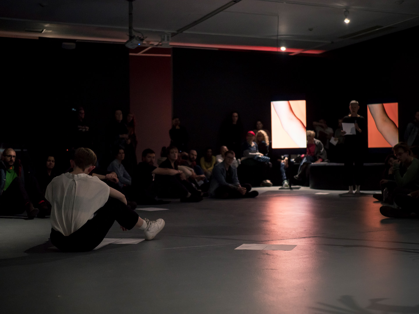 Grace Marlow,  again back, remain through , performed with Virginia Barratt, in Into My Arms co-curated by Frances Barratt and Toby Chapman, Ace Open, 2018. Photography by Sam Roberts.