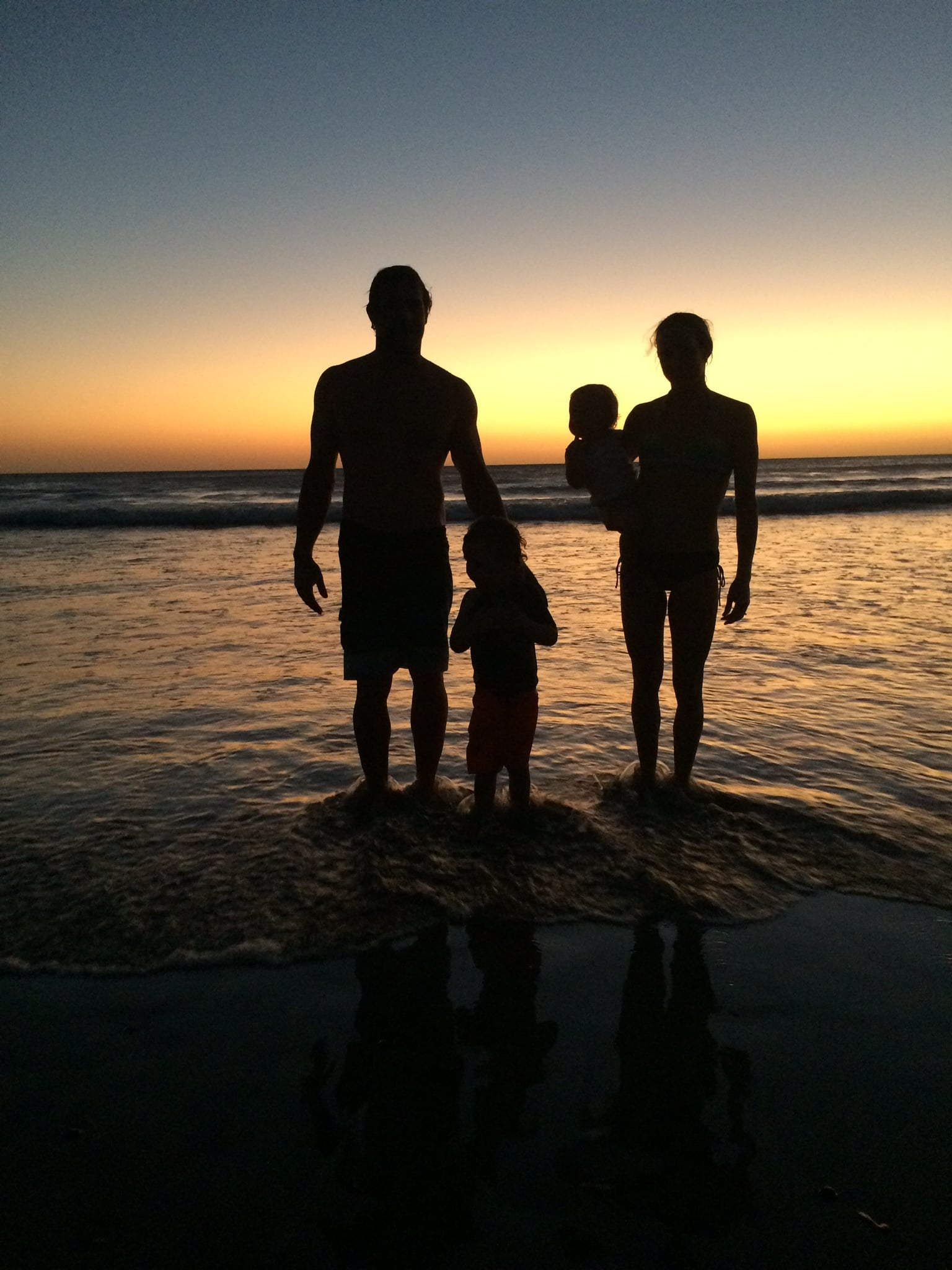 My favourite surfing family on the beach at Sunset in Playa Negra, Costa Rica.