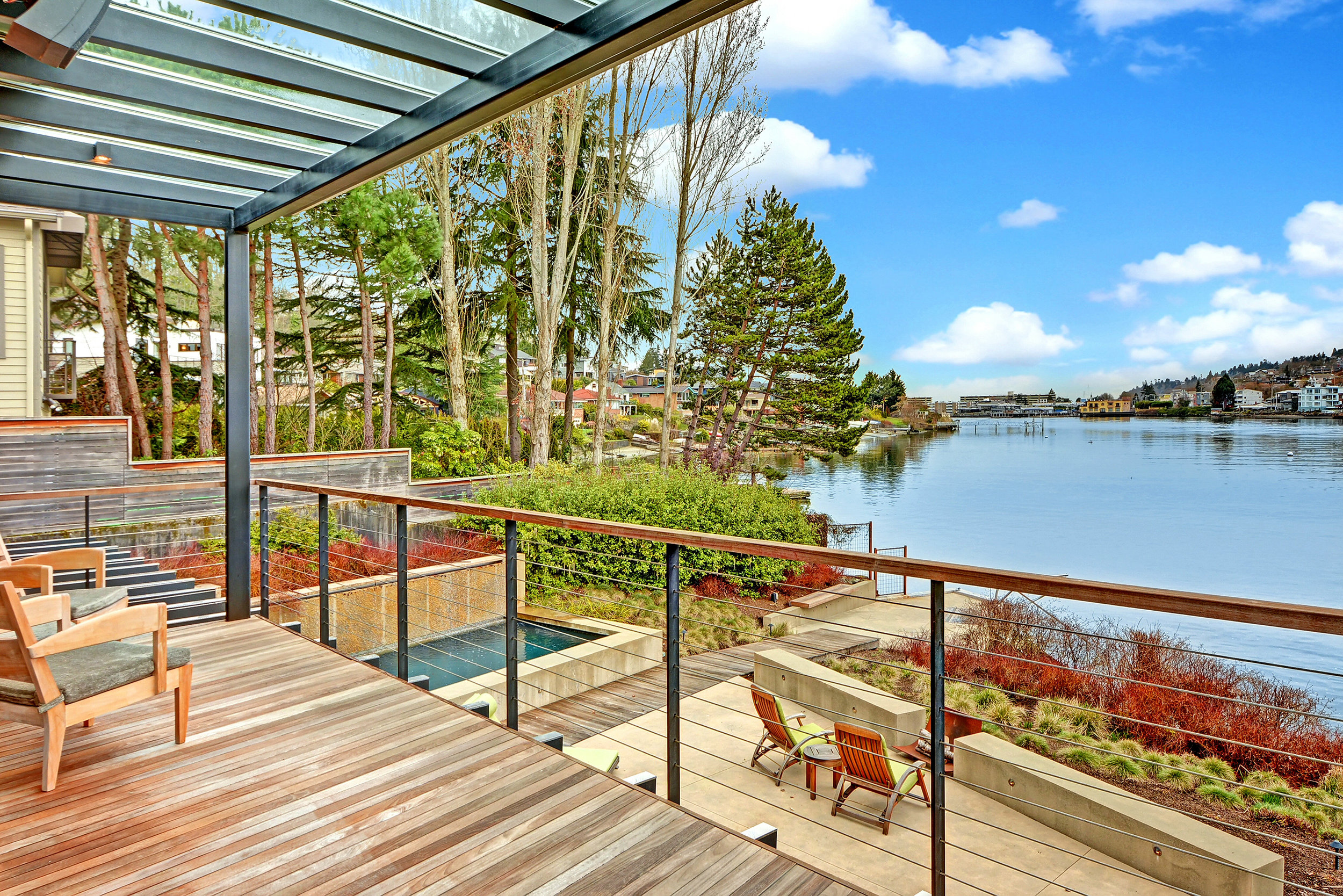 Landscape and shoreline west of Hiram Chittenden Locks in Seattle