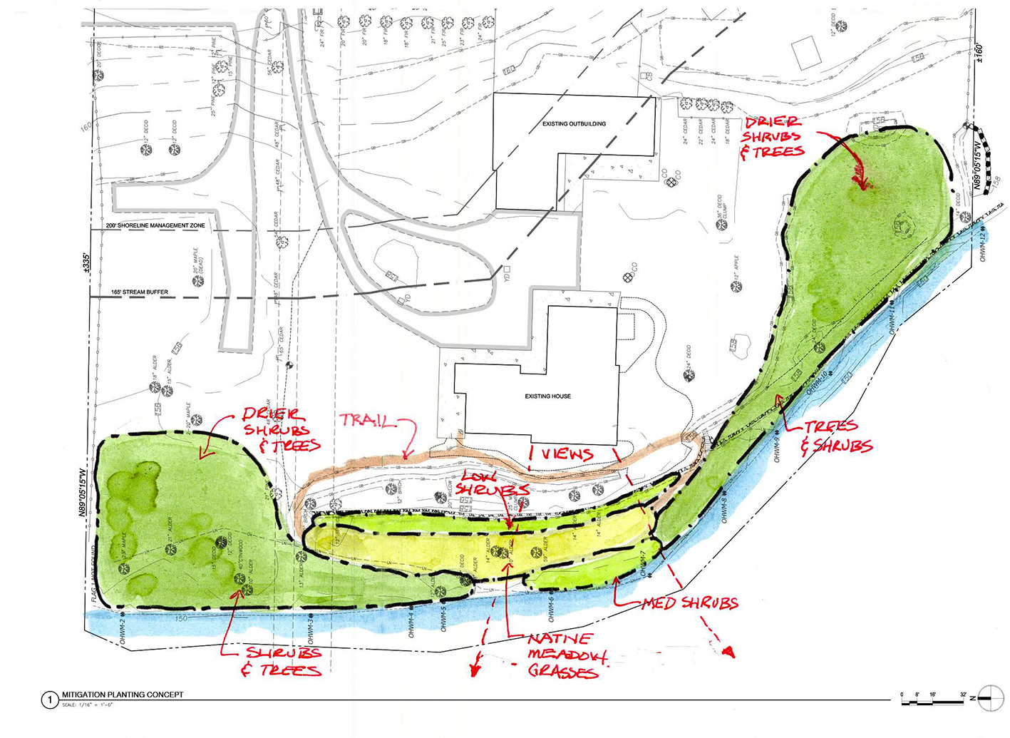 Mitigation schematic for an active salmon run on Issaquah Creek