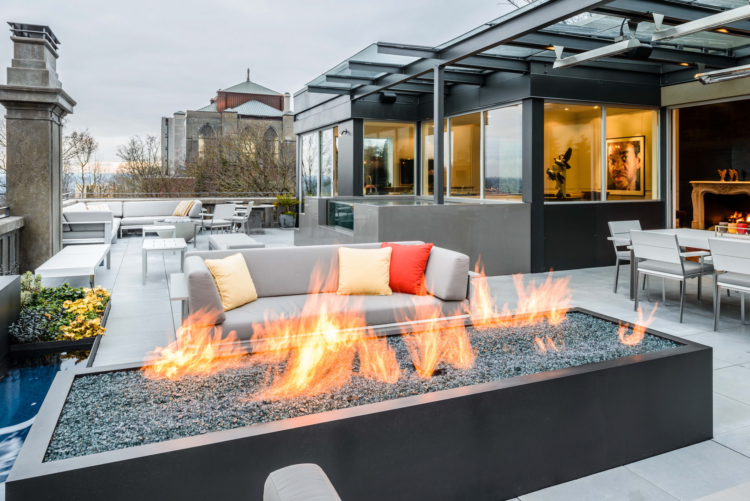 Modern roof garden with fire and water element