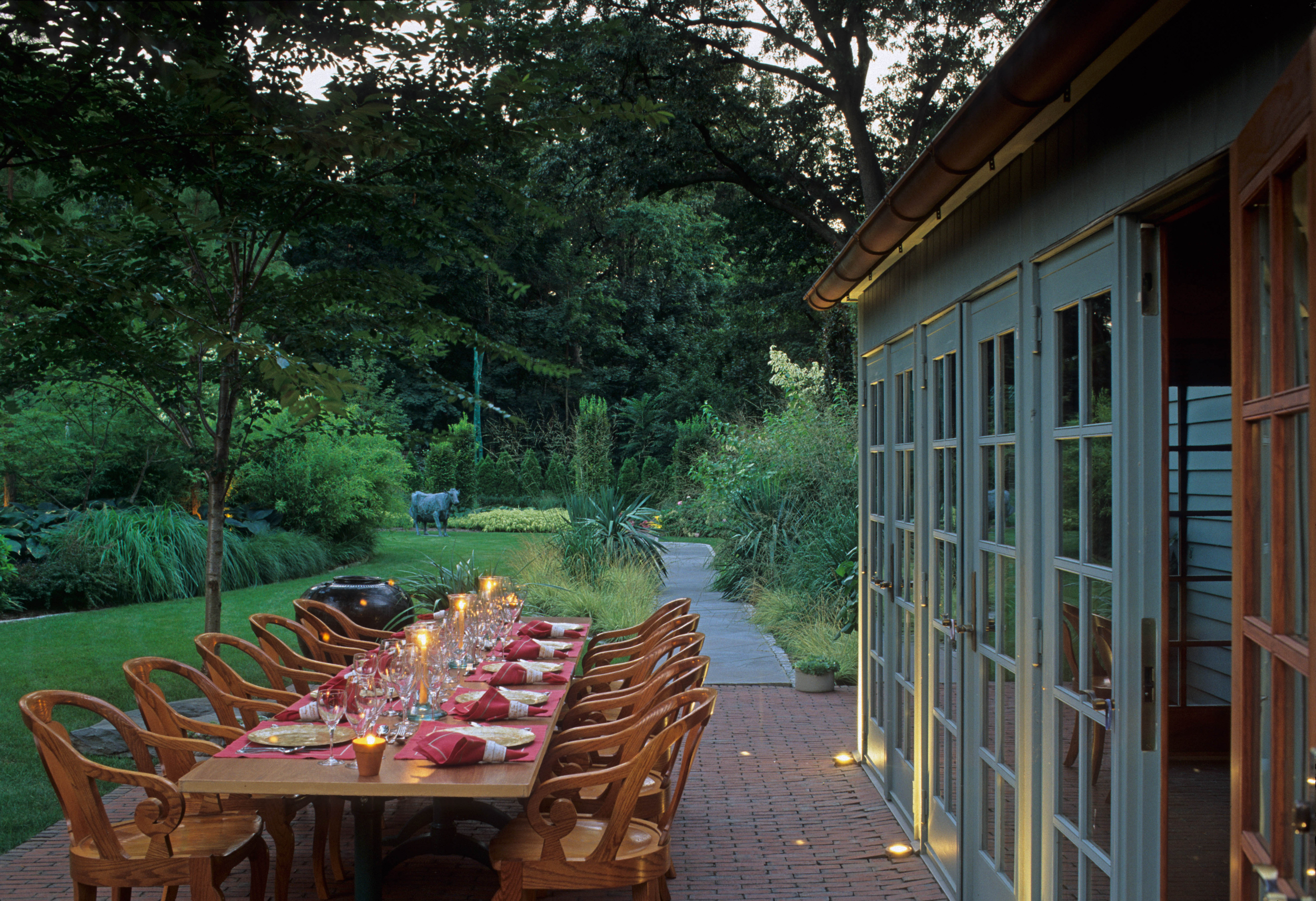 Outdoor dining table on patio