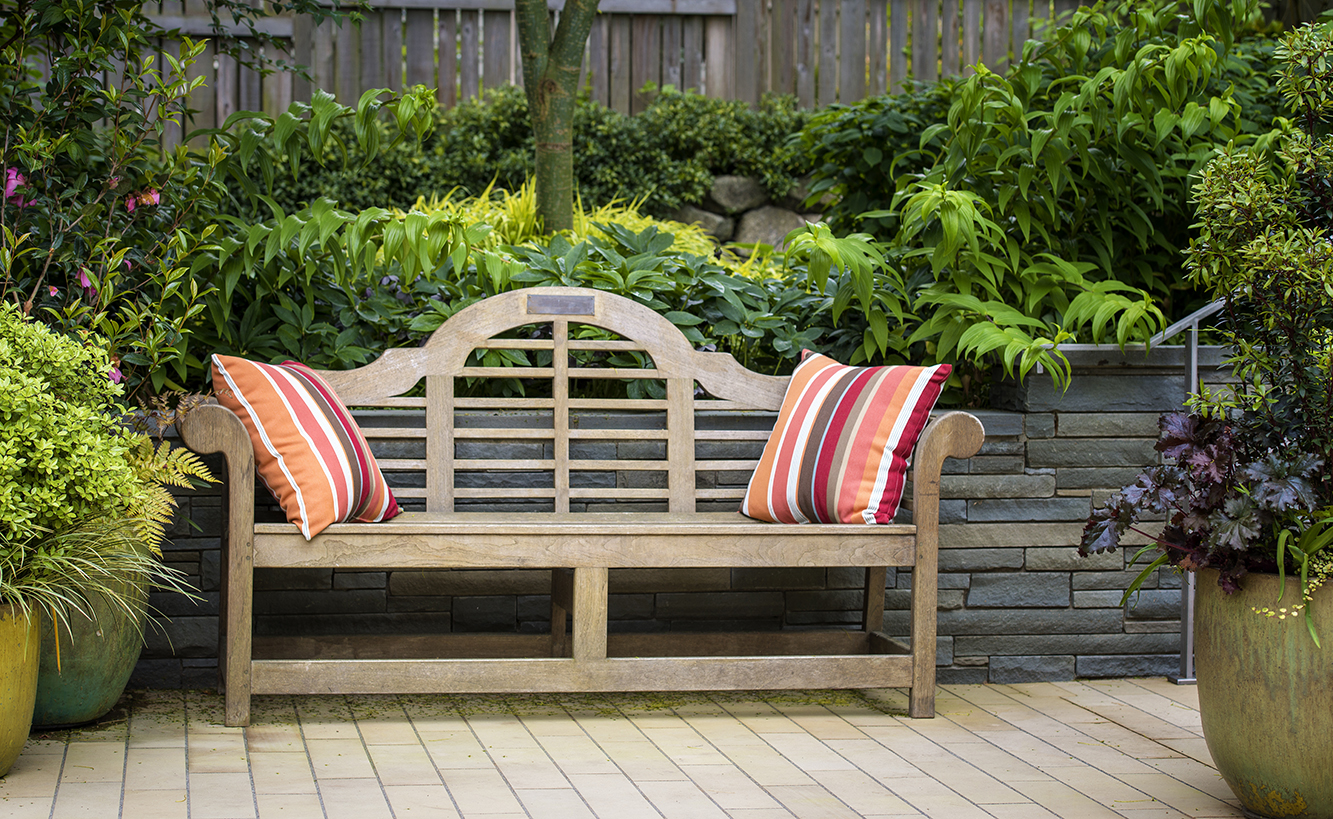 Wooden garden bench amongst potted plants