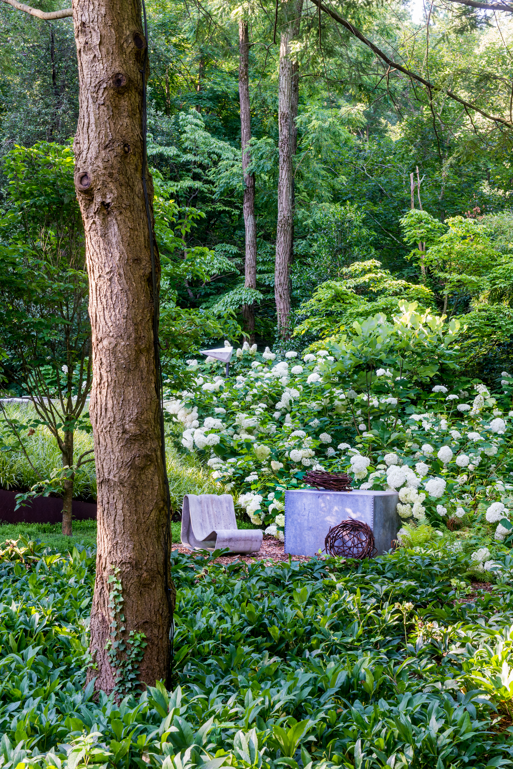 Woodland garden with art and outdoor furniture