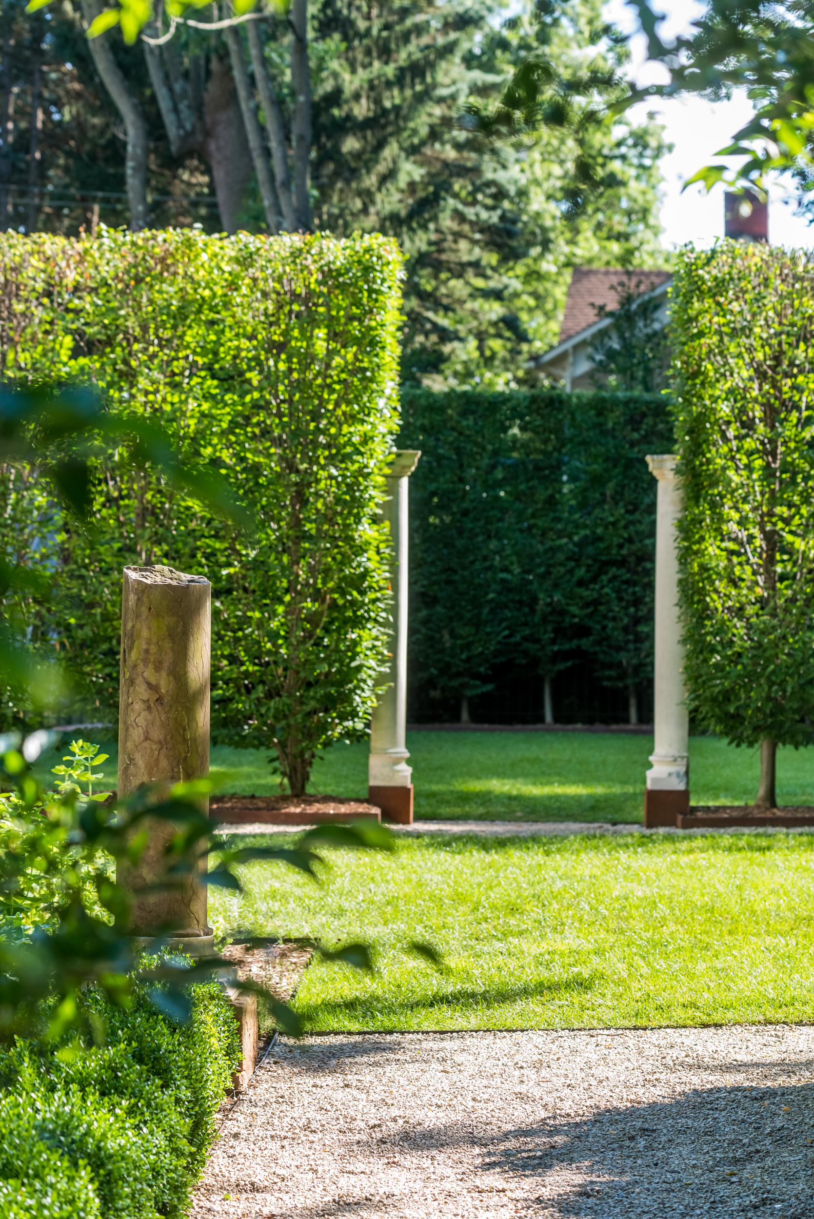 Greek revival formal garden