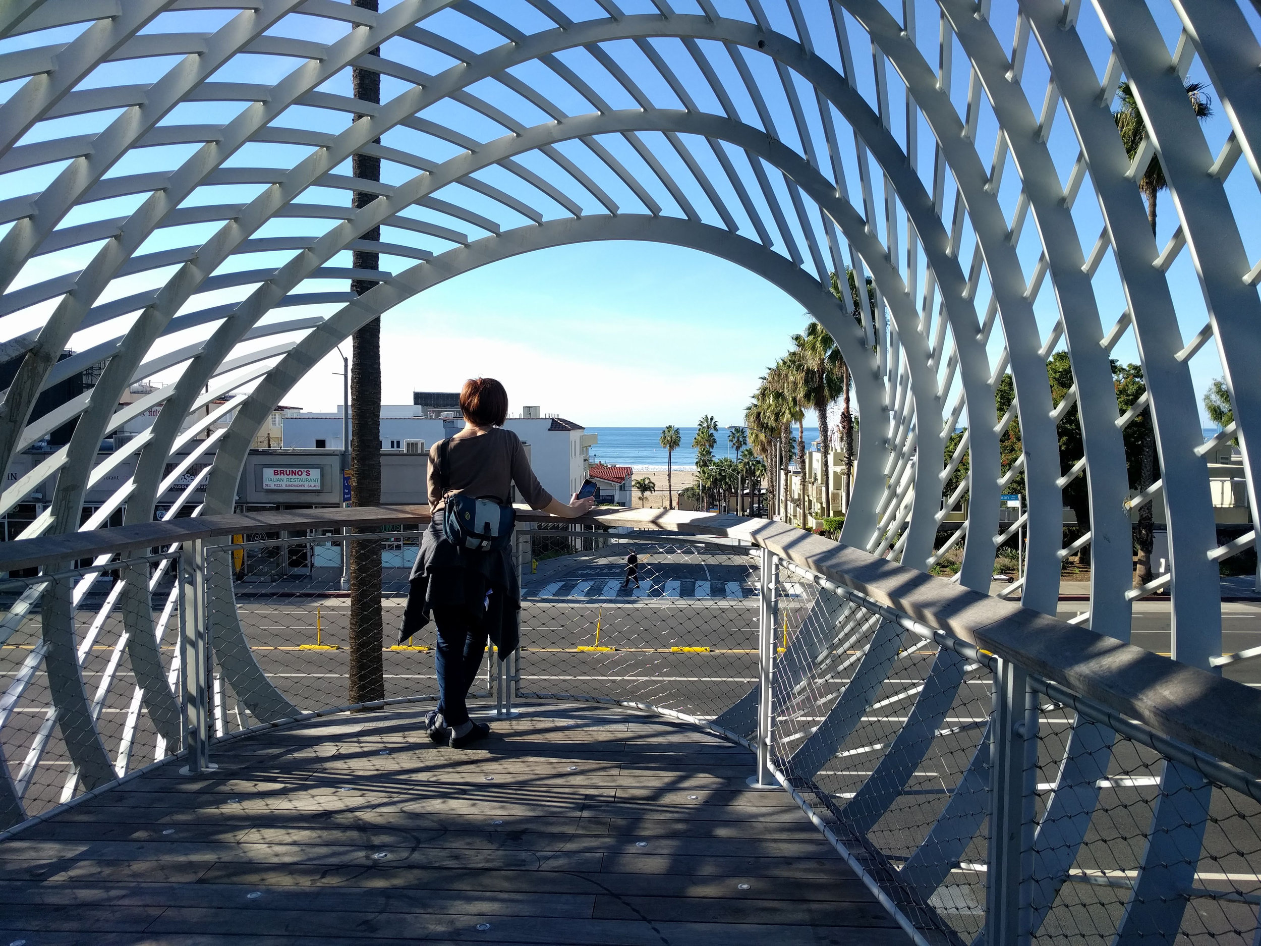 Sue contemplates the view from Tongva Park (designed by  James Corner Field Operations )