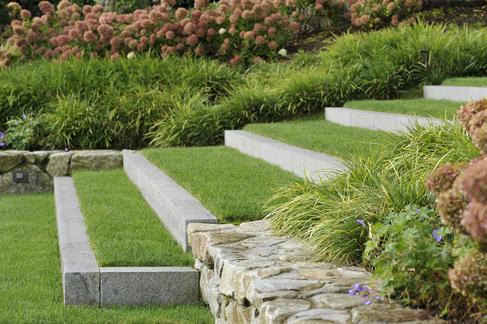 Grass stairs extend back into the landscape easing the transition by integrating into the slope.