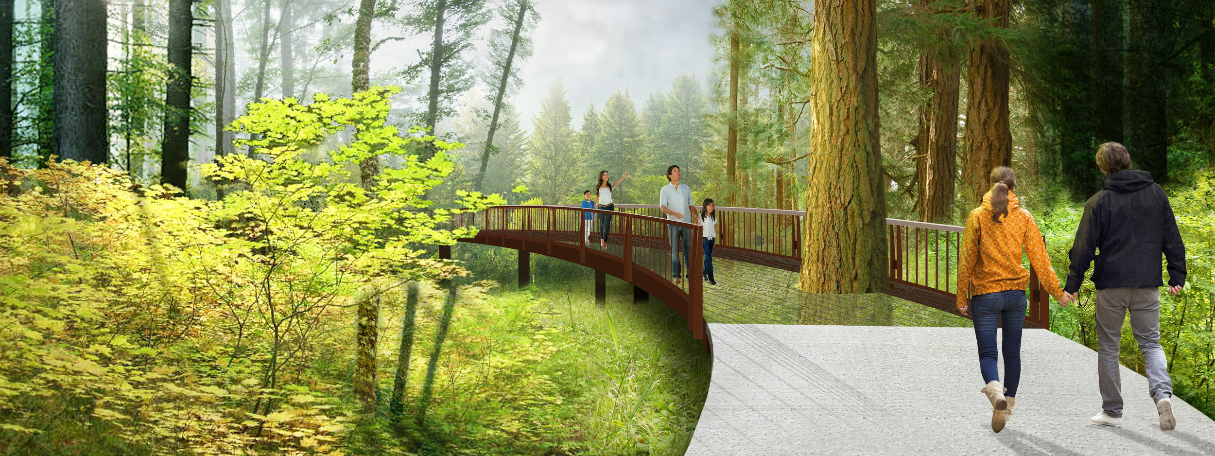 The Tree Walk offers an immersive experience of canopy from 36- feet above the forest floor. The fireside terrace is located on the highpoint of the upper garden at the edge of the forest. The arbor will be designed for year-round use with tent fabric that will enclose the space in the winter. A feature of the terrace is a linear gas outdoor fire feature.