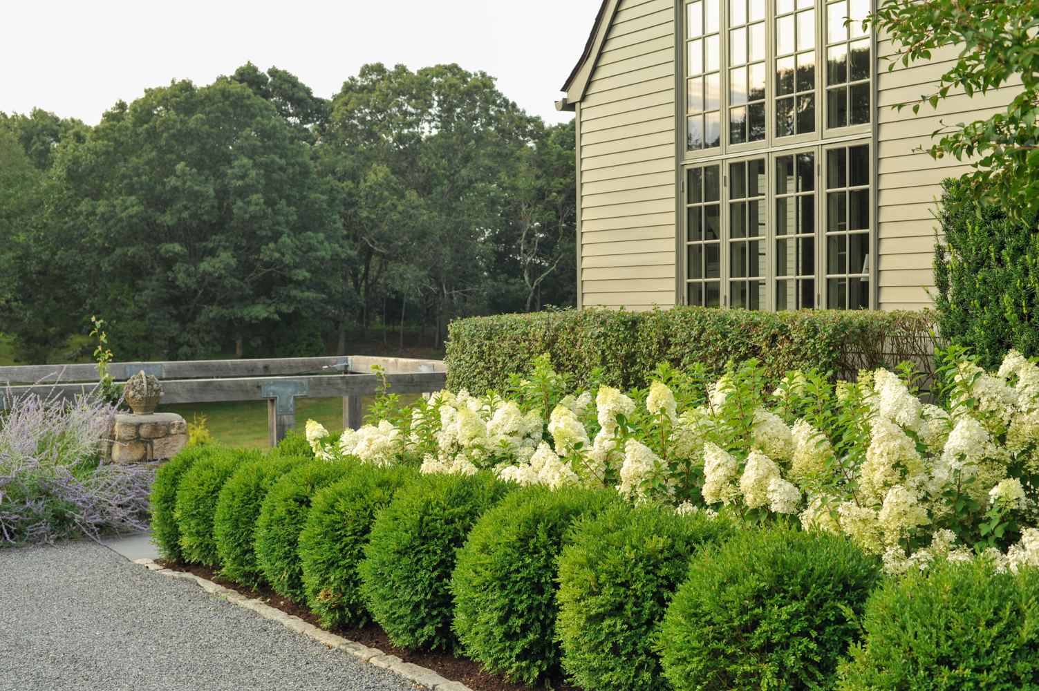 Garden design with outdoor living, swimming